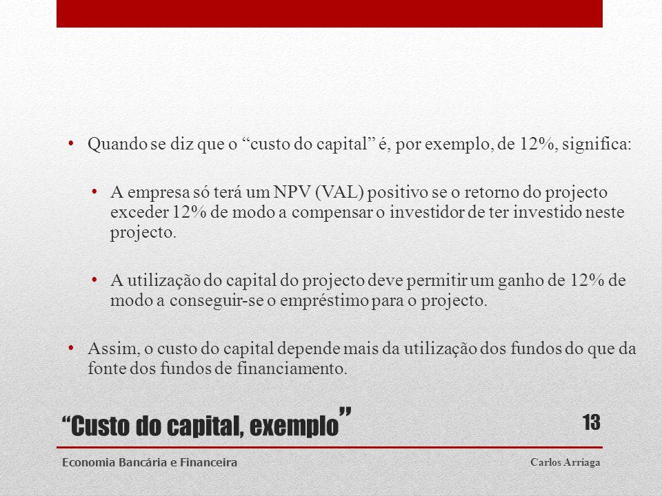 Custo do capital, exemplo Quando se diz que o custo do capital é, por exemplo, de 12%, significa: A empresa só terá um NPV (VAL) positivo se o retorno