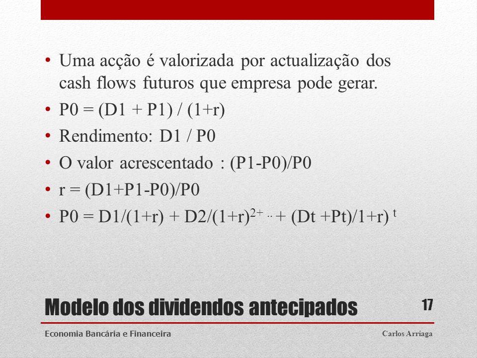 Modelo dos dividendos antecipados Uma acção é valorizada por actualização dos cash flows futuros que empresa pode gerar. P0 = (D1 + P1) / (1+r) Rendim