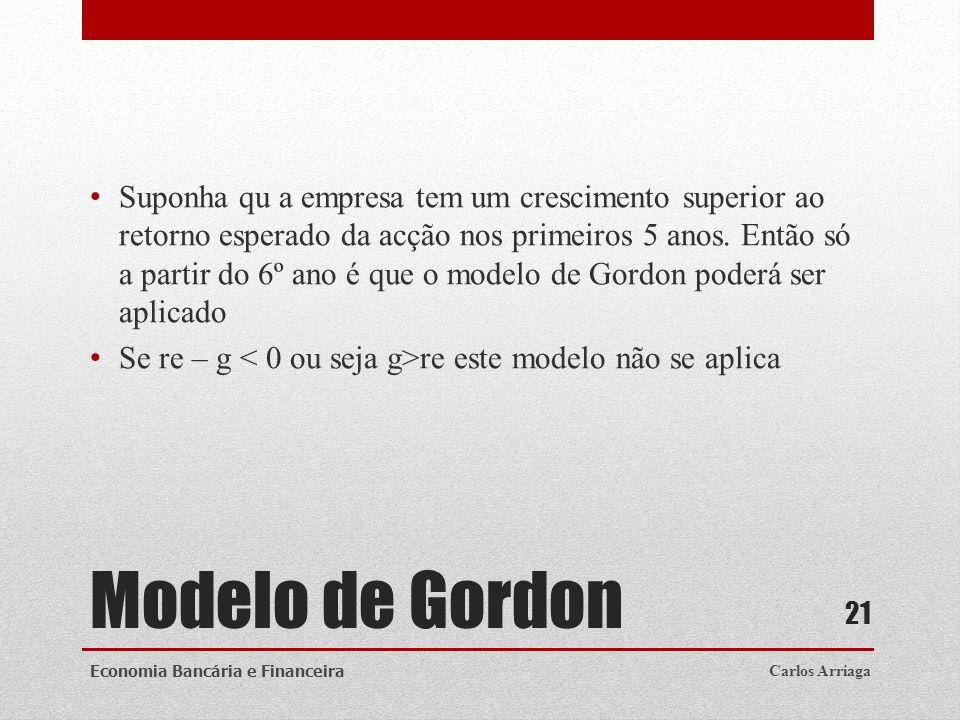 Modelo de Gordon Suponha qu a empresa tem um crescimento superior ao retorno esperado da acção nos primeiros 5 anos. Então só a partir do 6º ano é que