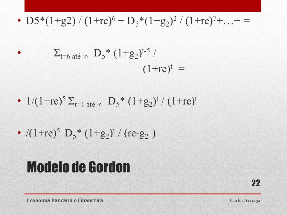 Modelo de Gordon D5*(1+g2) / (1+re) 6 + D 5 *(1+g 2 ) 2 / (1+re) 7 +…+ = Σ t=6 até D 5 * (1+g 2 ) t-5 / (1+re) t = 1/(1+re) 5 Σ t=1 até D 5 * (1+g 2 )