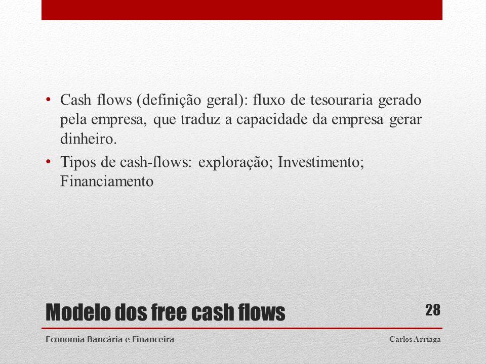 Modelo dos free cash flows Cash flows (definição geral): fluxo de tesouraria gerado pela empresa, que traduz a capacidade da empresa gerar dinheiro. T