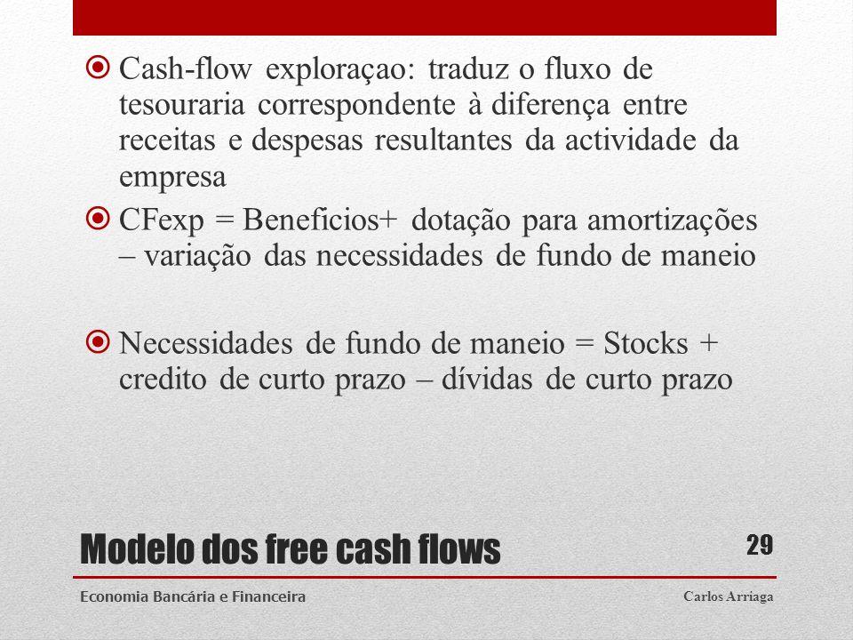 Modelo dos free cash flows Cash-flow exploraçao: traduz o fluxo de tesouraria correspondente à diferença entre receitas e despesas resultantes da acti