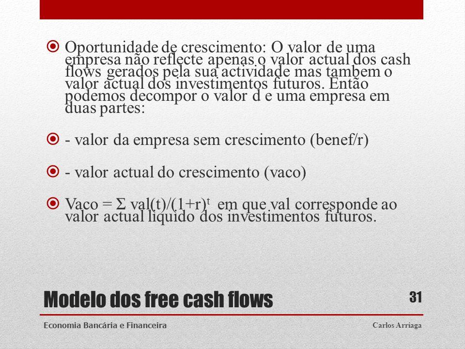 Modelo dos free cash flows Oportunidade de crescimento: O valor de uma empresa não reflecte apenas o valor actual dos cash flows gerados pela sua acti