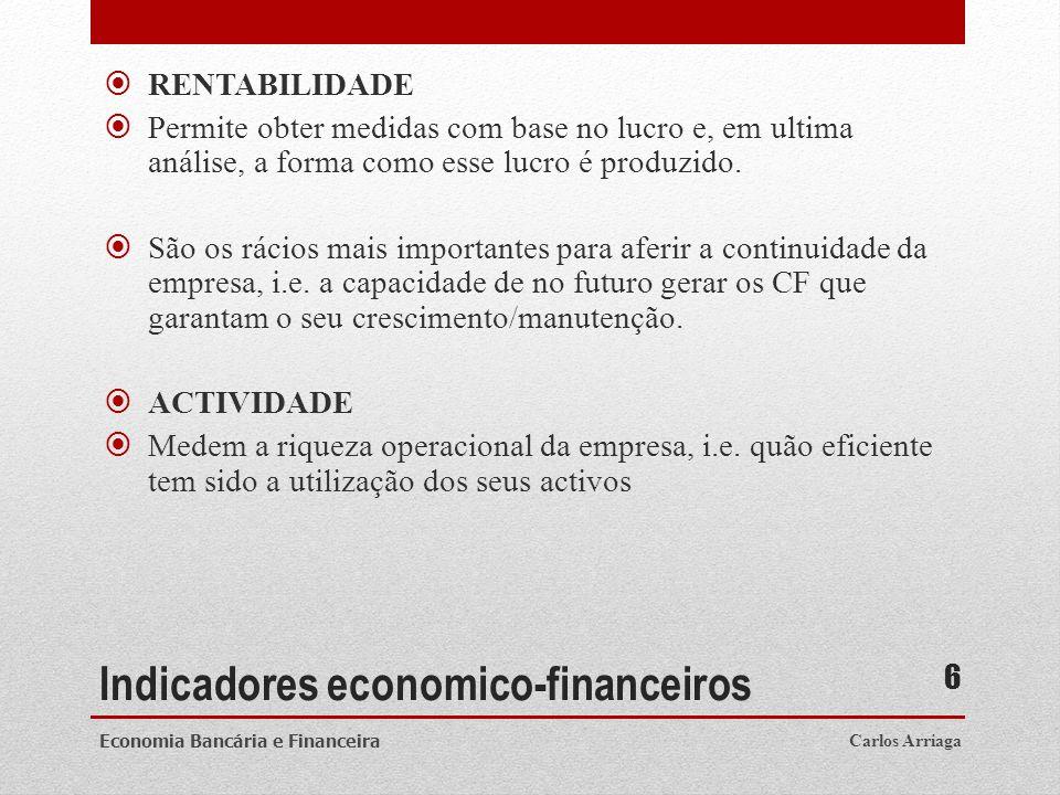 Indicadores economico-financeiros RENTABILIDADE Permite obter medidas com base no lucro e, em ultima análise, a forma como esse lucro é produzido. São
