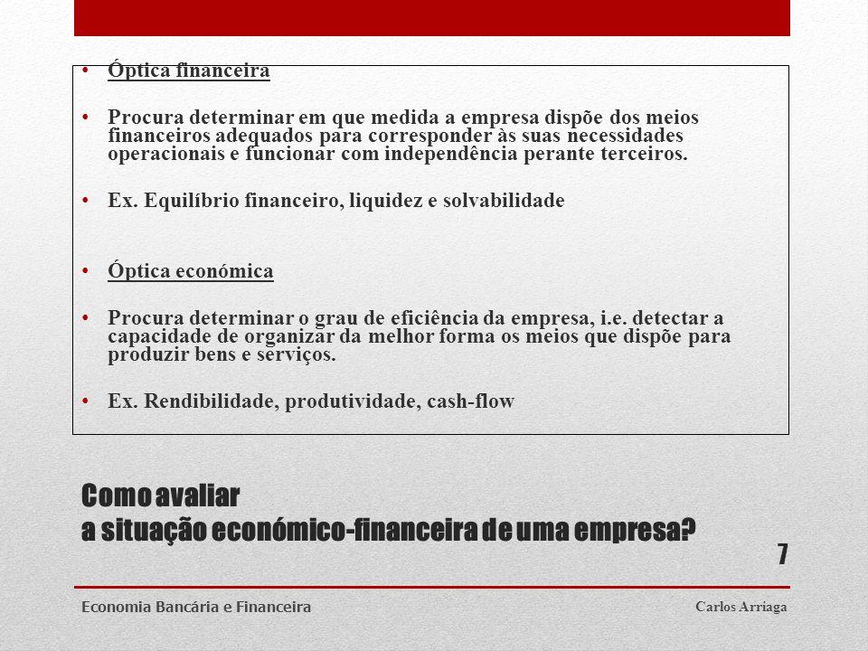 Como avaliar a situação económico-financeira de uma empresa? Óptica financeira Procura determinar em que medida a empresa dispõe dos meios financeiros