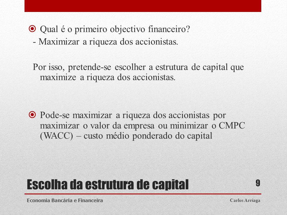 Escolha da estrutura de capital Qual é o primeiro objectivo financeiro? - Maximizar a riqueza dos accionistas. Por isso, pretende-se escolher a estrut