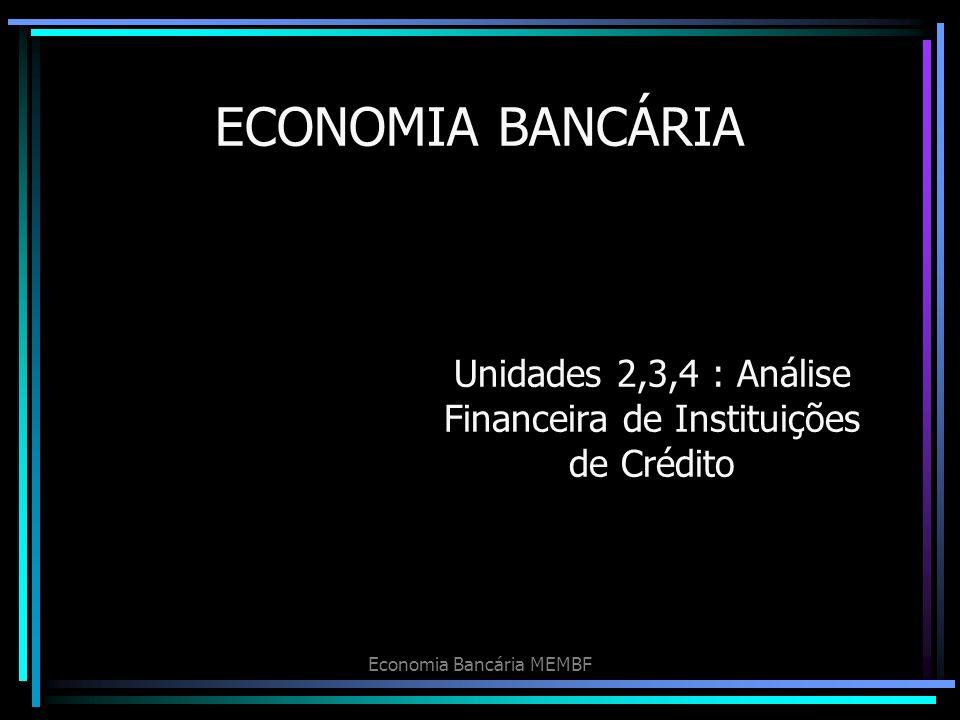 Economia Bancária MEMBF ECONOMIA BANCÁRIA Unidades 2,3,4 : Análise Financeira de Instituições de Crédito