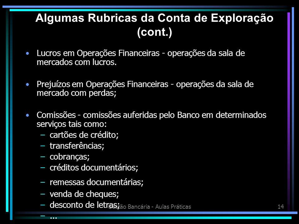 Gestão Bancária - Aulas Práticas14 Lucros em Operações Financeiras - operações da sala de mercados com lucros. Prejuízos em Operações Financeiras - op