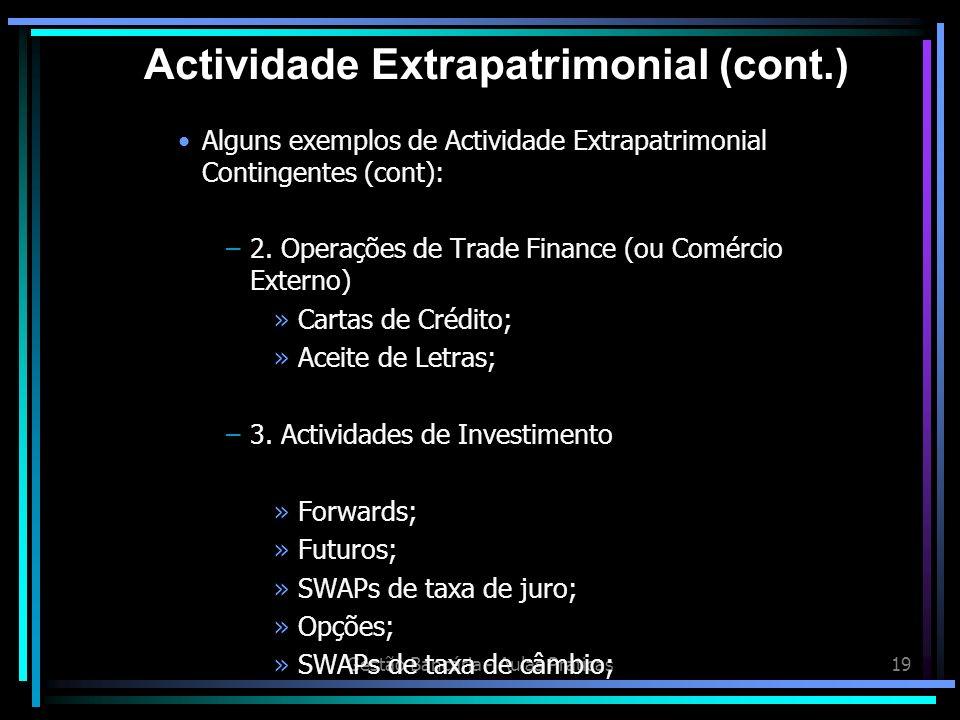 Gestão Bancária - Aulas Práticas19 Alguns exemplos de Actividade Extrapatrimonial Contingentes (cont): –2. Operações de Trade Finance (ou Comércio Ext