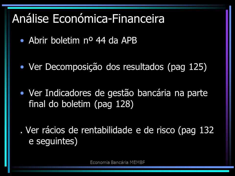 Análise Económica-Financeira Abrir boletim nº 44 da APB Ver Decomposição dos resultados (pag 125) Ver Indicadores de gestão bancária na parte final do