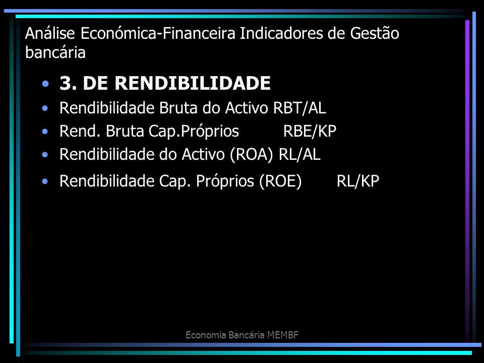 Análise Económica-Financeira Indicadores de Gestão bancária 3. DE RENDIBILIDADE Rendibilidade Bruta do Activo RBT/AL Rend. Bruta Cap.PrópriosRBE/KP Re
