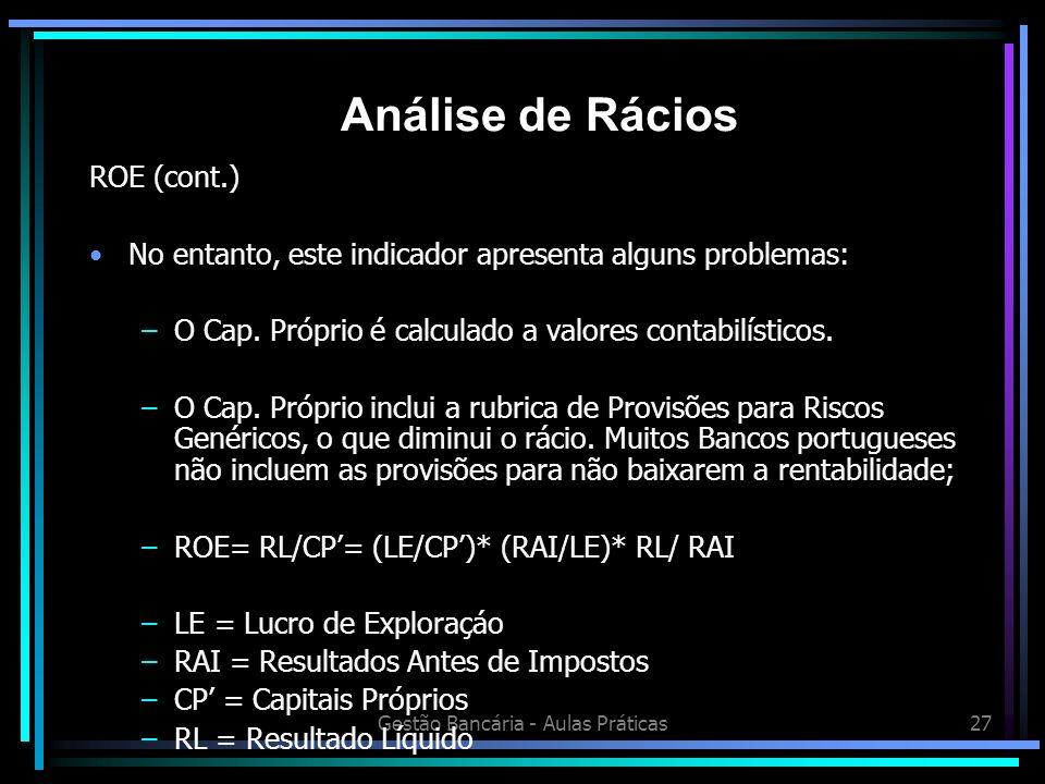 Gestão Bancária - Aulas Práticas27 ROE (cont.) No entanto, este indicador apresenta alguns problemas: –O Cap. Próprio é calculado a valores contabilís