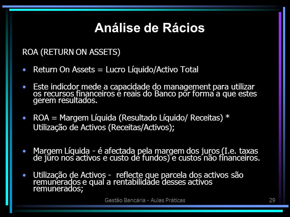 Gestão Bancária - Aulas Práticas29 ROA (RETURN ON ASSETS) Return On Assets = Lucro Líquido/Activo Total Este indicdor mede a capacidade do management