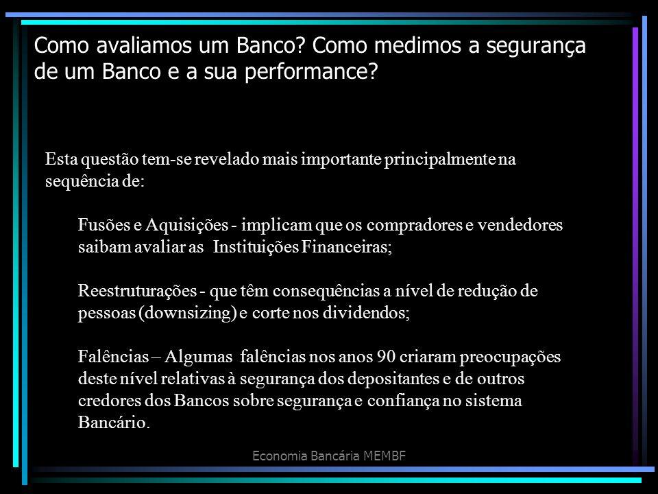 Como avaliamos um Banco? Como medimos a segurança de um Banco e a sua performance? Economia Bancária MEMBF Esta questão tem-se revelado mais important