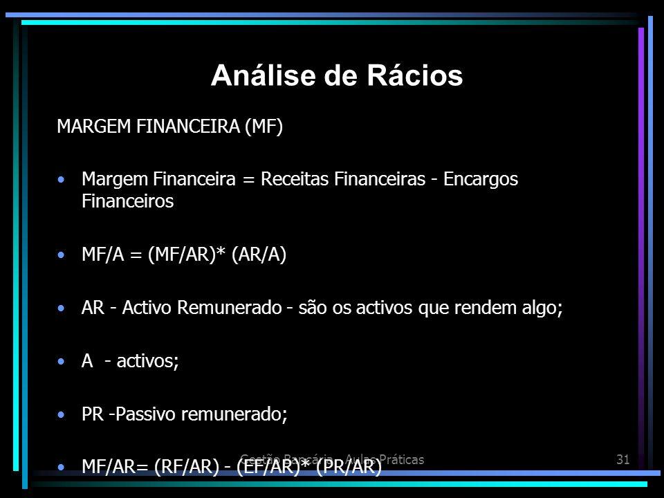 Gestão Bancária - Aulas Práticas31 MARGEM FINANCEIRA (MF) Margem Financeira = Receitas Financeiras - Encargos Financeiros MF/A = (MF/AR)* (AR/A) AR -