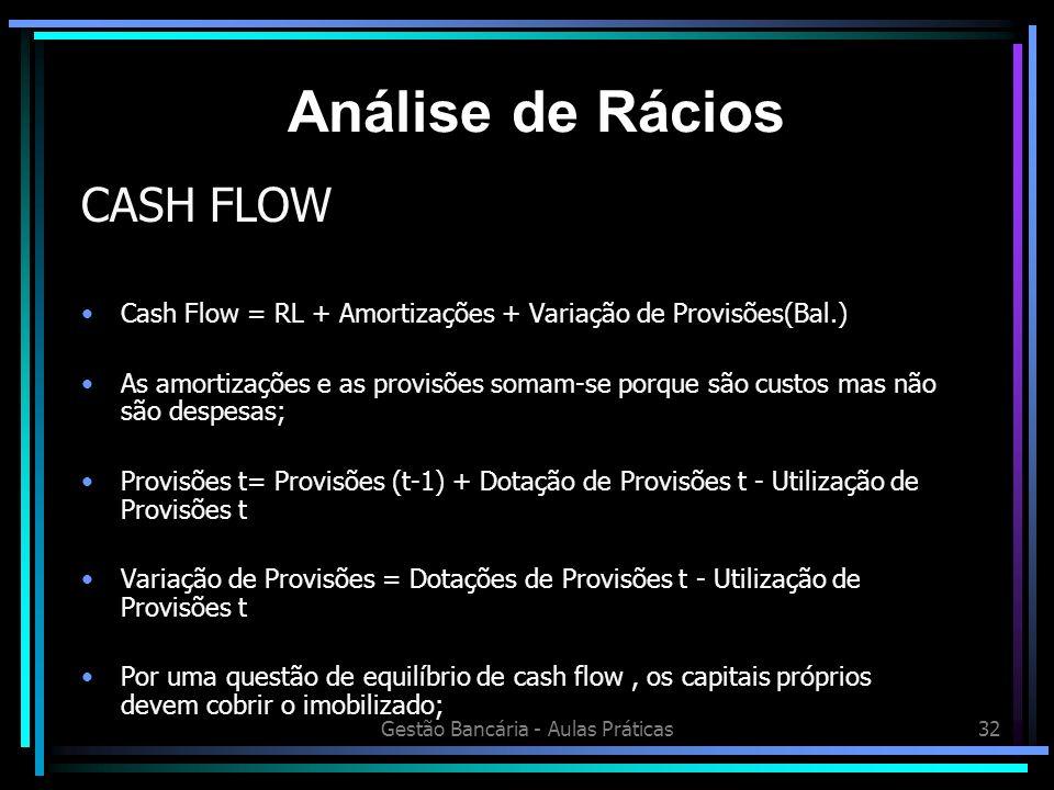Gestão Bancária - Aulas Práticas32 CASH FLOW Cash Flow = RL + Amortizações + Variação de Provisões(Bal.) As amortizações e as provisões somam-se porqu