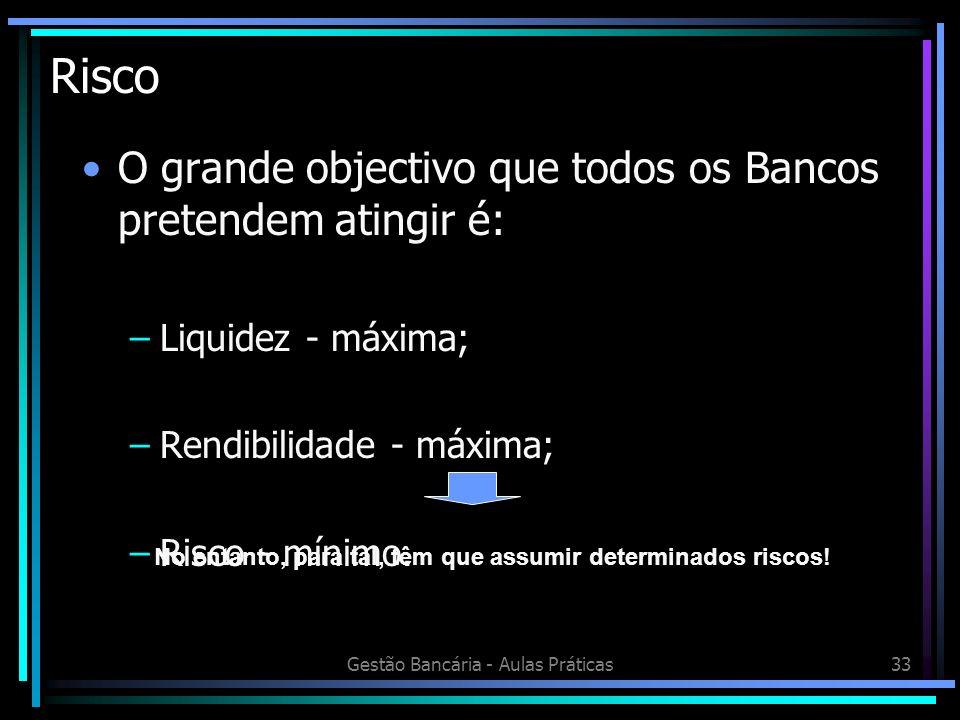 Gestão Bancária - Aulas Práticas33 Risco O grande objectivo que todos os Bancos pretendem atingir é: –Liquidez - máxima; –Rendibilidade - máxima; –Ris
