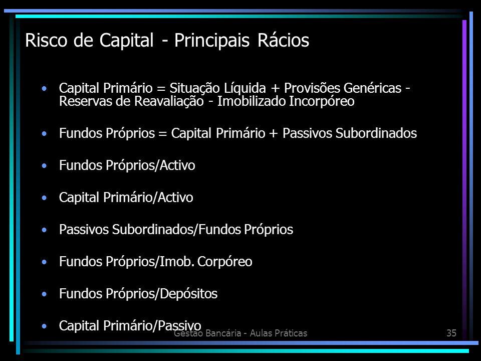 Gestão Bancária - Aulas Práticas35 Risco de Capital - Principais Rácios Capital Primário = Situação Líquida + Provisões Genéricas - Reservas de Reaval