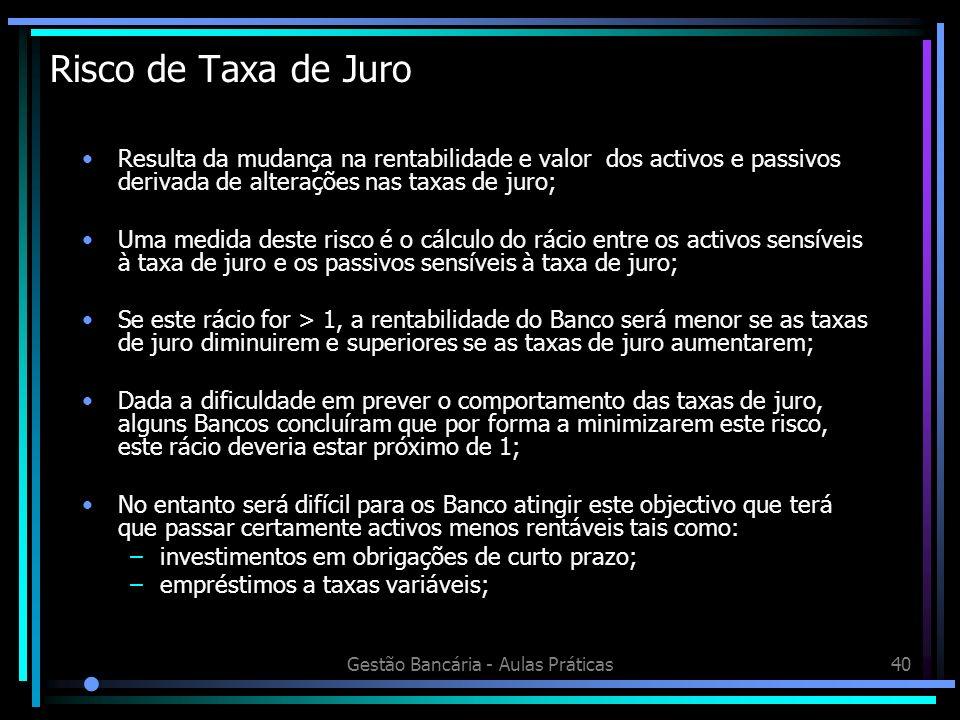 Gestão Bancária - Aulas Práticas40 Risco de Taxa de Juro Resulta da mudança na rentabilidade e valor dos activos e passivos derivada de alterações nas