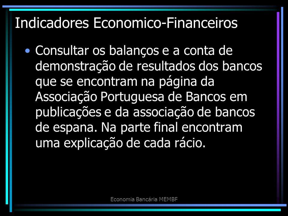 Indicadores Economico-Financeiros Consultar os balanços e a conta de demonstração de resultados dos bancos que se encontram na página da Associação Po