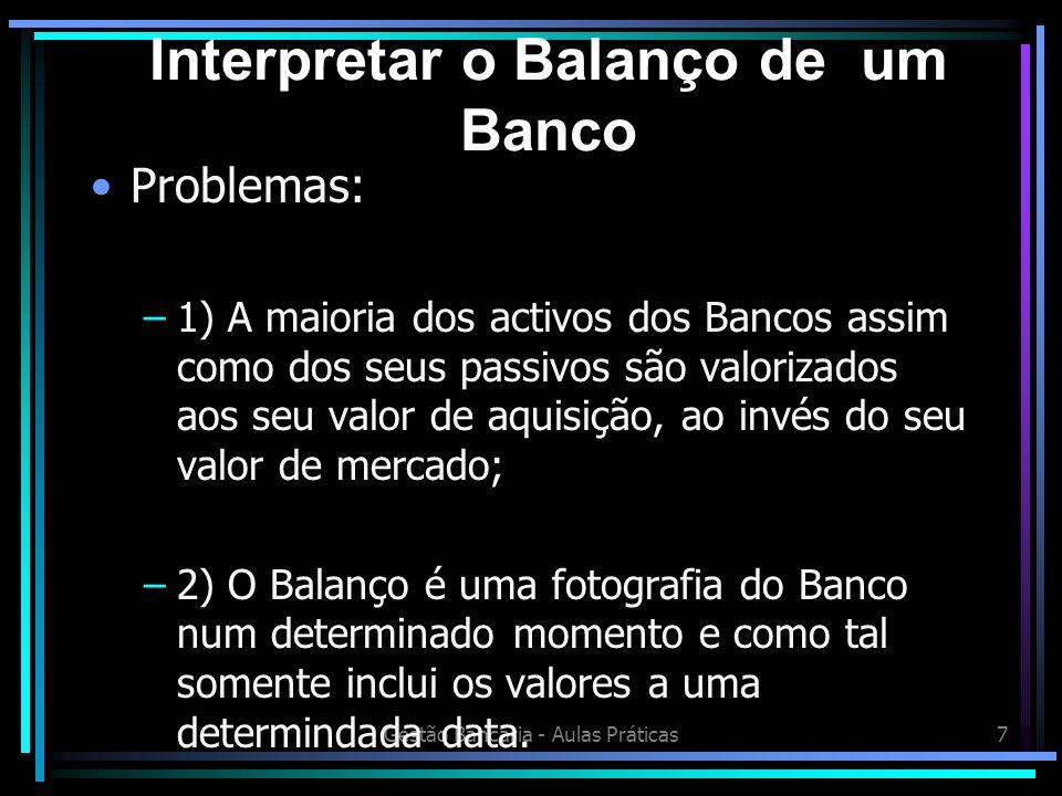 Gestão Bancária - Aulas Práticas28 P/BV (PRICE BOOK VALUE) Este rácio indica os fundos que os accionistas investiram no Banco; Um Price Book Value baixo pode significar uma gestão desastrosa; Price = EPS/(r-g) P/BV= (EPS/BV)/(r - g)= ROE/ (r-g) r= Taxa de desconto g= taxa de crescimento Análise de Rácios