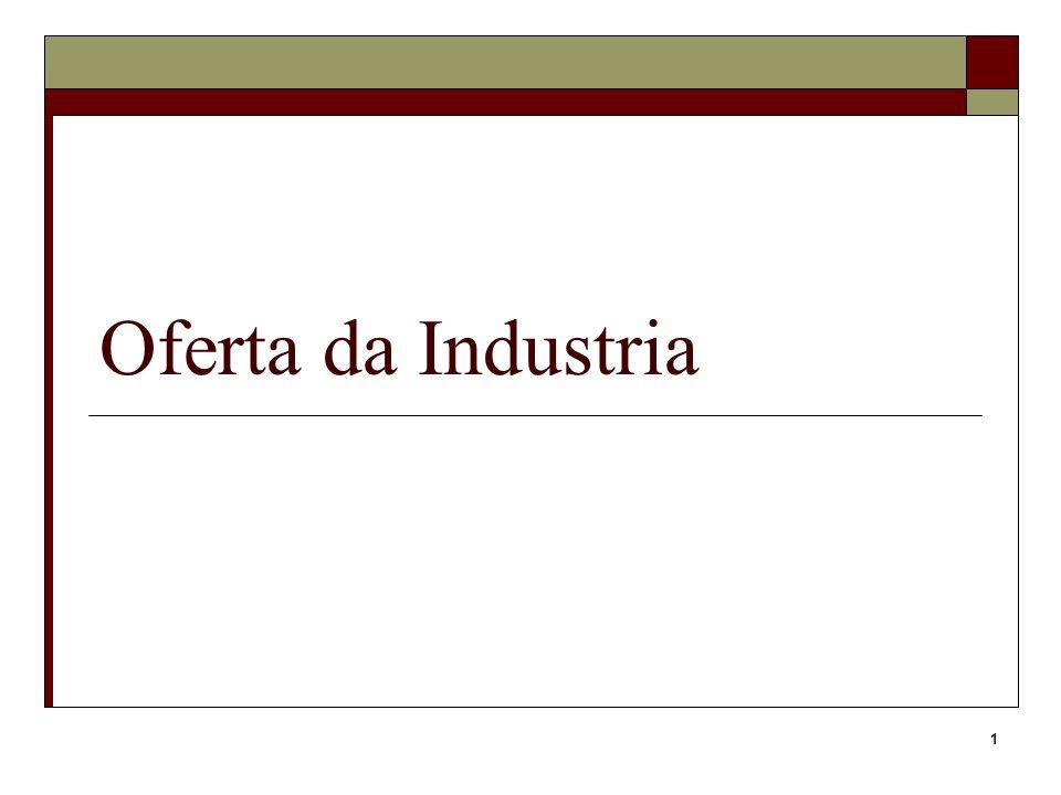 32 Economias externas Observa ou antecipa o output da indústria e selecciona o seu output igualando p=Cmg Se necessário, com ajustamentos A função oferta da indústria pode ter declive negativo Ex: uma indústria com 2 empresas competitivas com f.