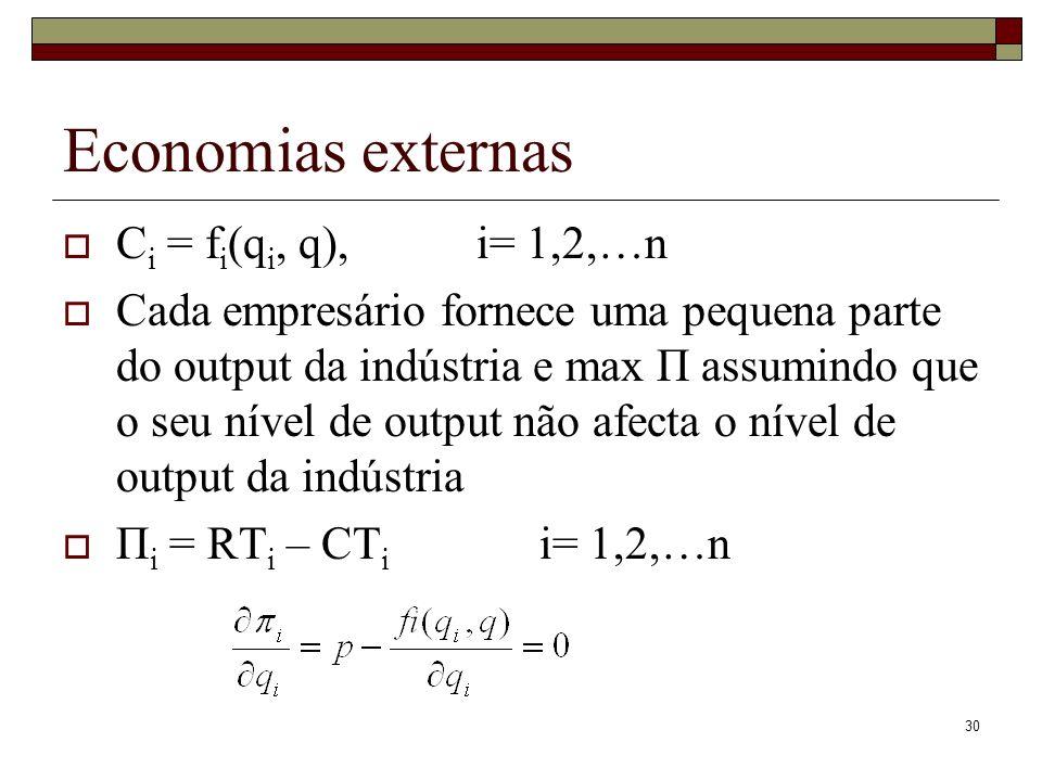 30 Economias externas C i = f i (q i, q), i= 1,2,…n Cada empresário fornece uma pequena parte do output da indústria e max Π assumindo que o seu nível