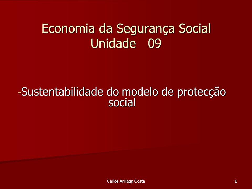 Carlos Arriaga Costa 1 Economia da Segurança Social Unidade 09 - Sustentabilidade do modelo de protecção social