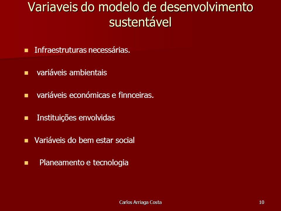 Carlos Arriaga Costa10 Variaveis do modelo de desenvolvimento sustentável Infraestruturas necessárias.