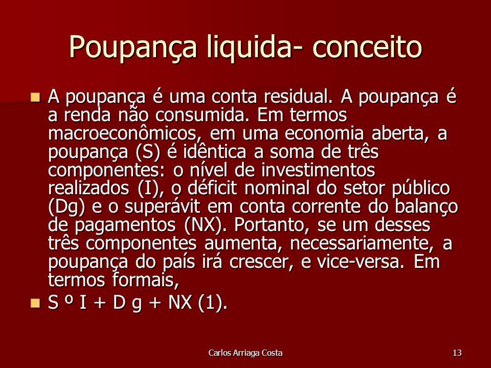 Carlos Arriaga Costa13 Poupança liquida- conceito A poupança é uma conta residual.