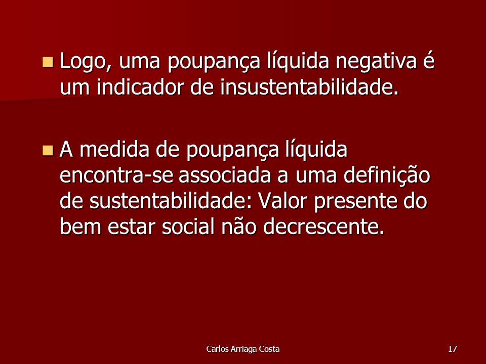 Carlos Arriaga Costa17 Logo, uma poupança líquida negativa é um indicador de insustentabilidade.