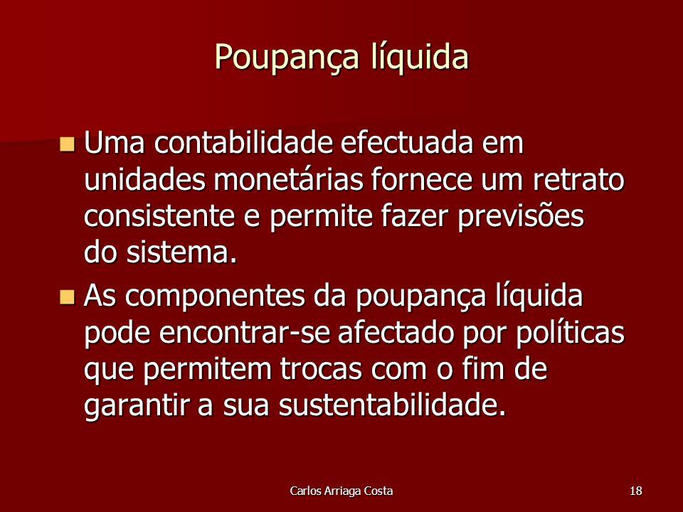 Carlos Arriaga Costa18 Poupança líquida Uma contabilidade efectuada em unidades monetárias fornece um retrato consistente e permite fazer previsões do sistema.