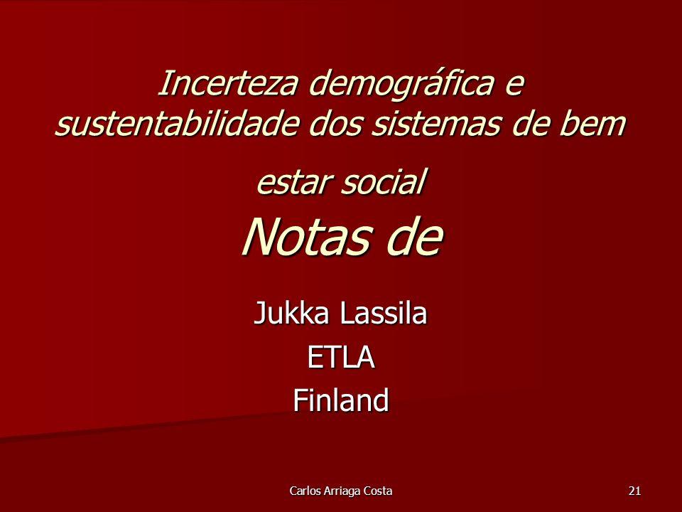 Carlos Arriaga Costa 21 Incerteza demográfica e sustentabilidade dos sistemas de bem estar social Notas de Jukka Lassila ETLAFinland
