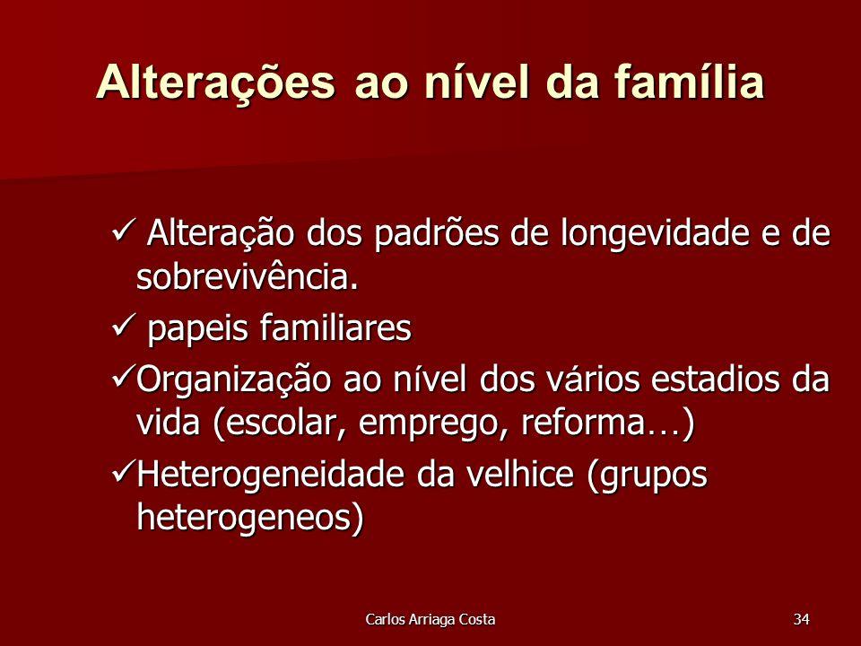 Carlos Arriaga Costa34 Alterações ao nível da família Altera ç ão dos padrões de longevidade e de sobrevivência.