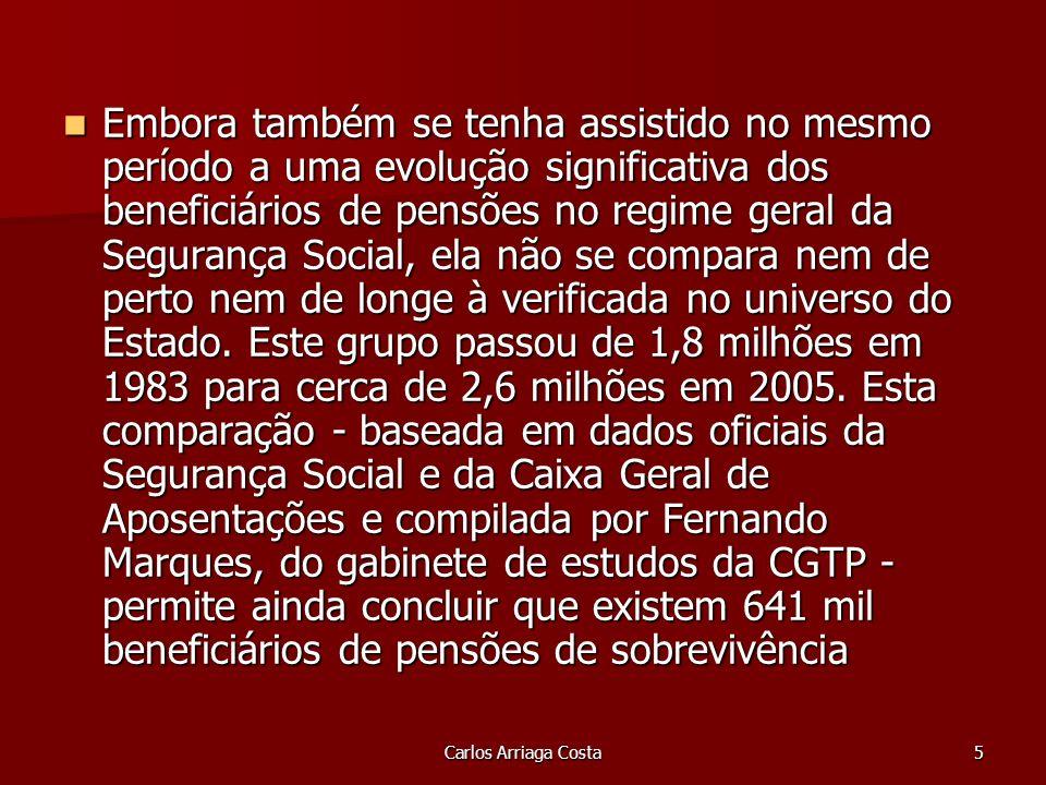 Carlos Arriaga Costa5 Embora também se tenha assistido no mesmo período a uma evolução significativa dos beneficiários de pensões no regime geral da Segurança Social, ela não se compara nem de perto nem de longe à verificada no universo do Estado.