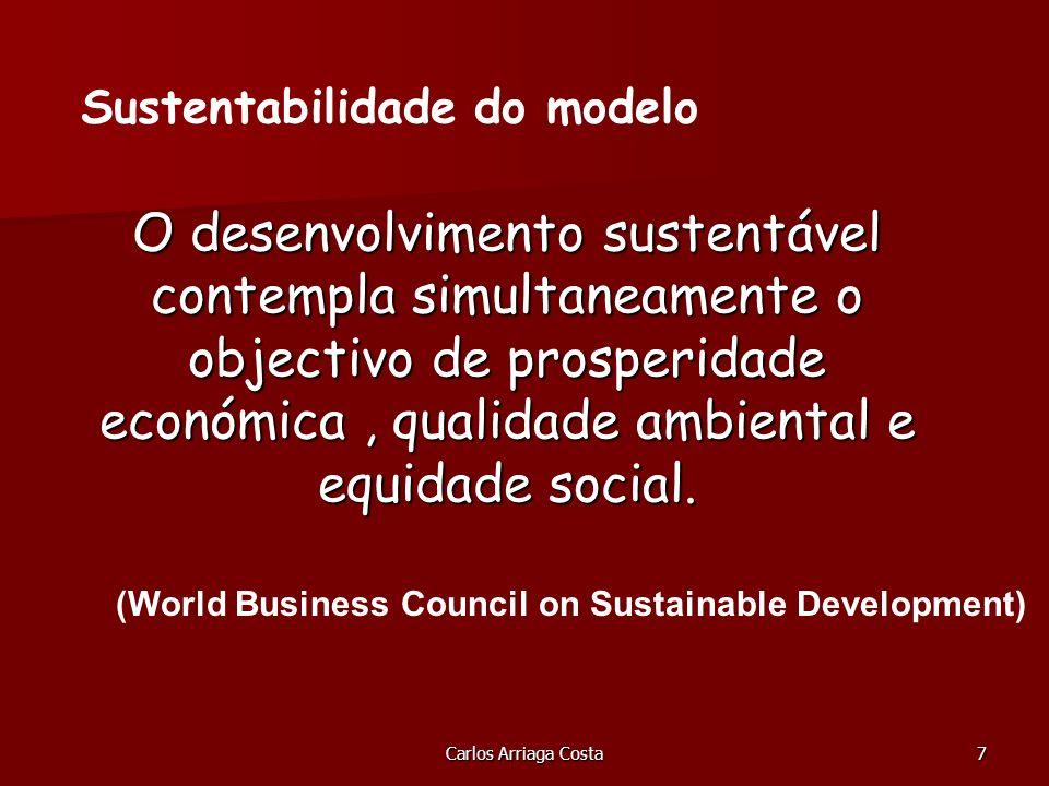 Carlos Arriaga Costa7 O desenvolvimento sustentável contempla simultaneamente o objectivo de prosperidade económica, qualidade ambiental e equidade social.