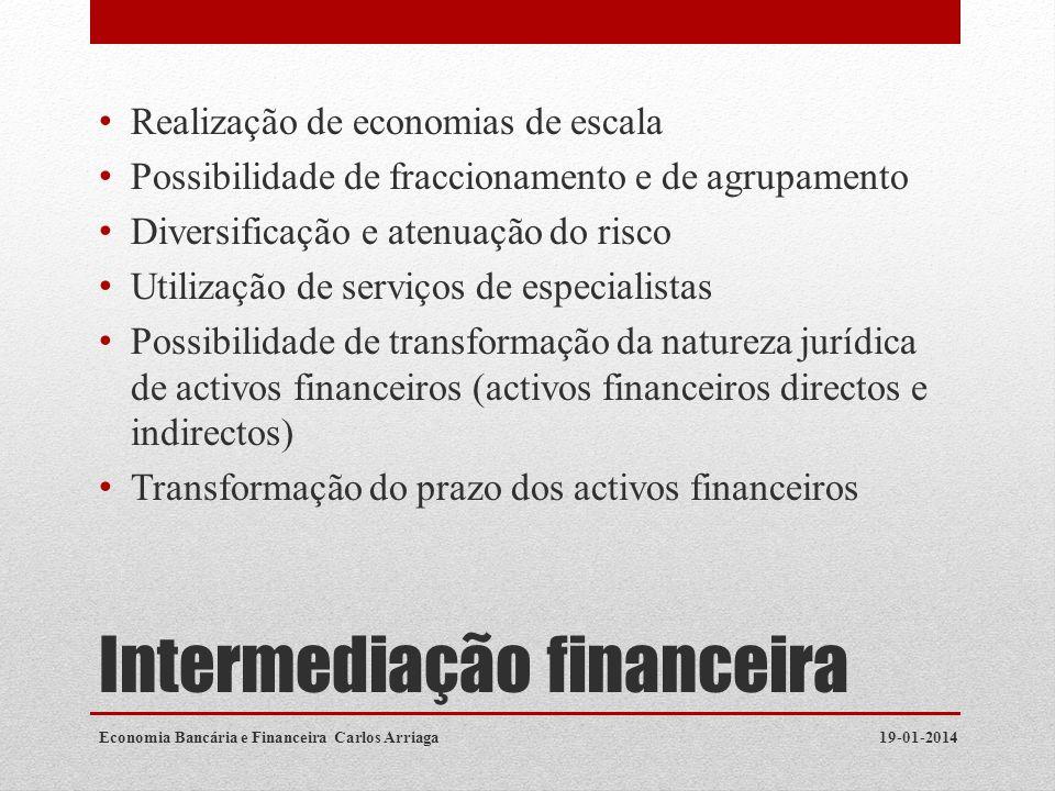 Savings: Borrowing and Lending 19-01-2014Economia Bancária e Financeira Carlos Arriaga Consumption Today (t=0) Future Consumption (t=1) C0C0 C 1 = C 0 (1+R) C0C0 C0C0 Slope of Savings Lines = -(1+R)