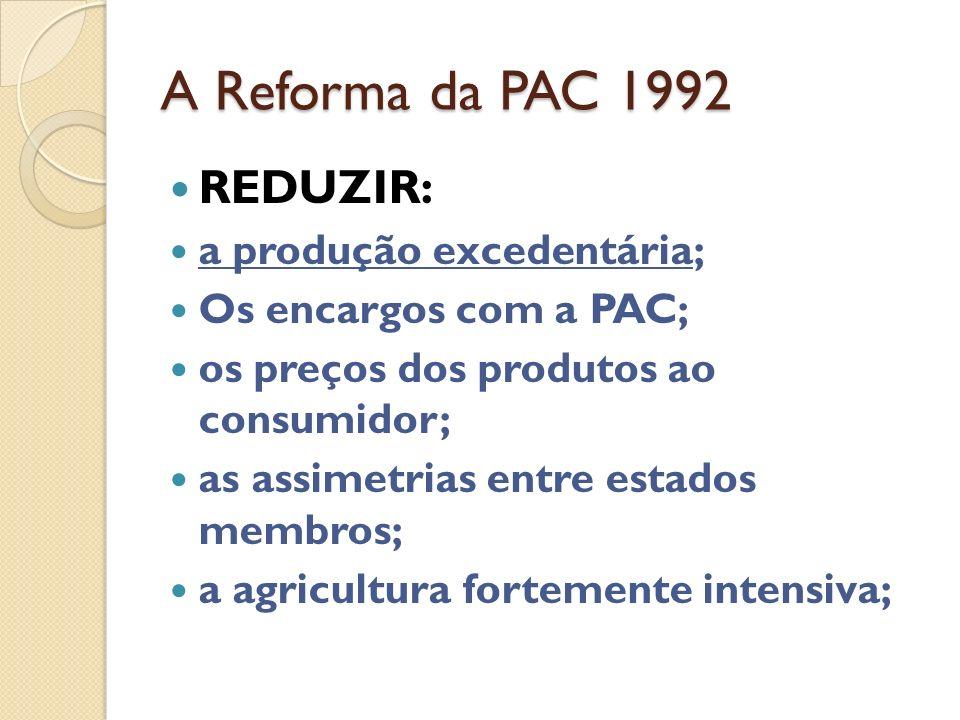 As reformas da PAC A primeira reforma em 1992 sob o lema: REDUZIR... A reforma de 1999 - integra as recomendações da agenda 2000 e as alterações neces