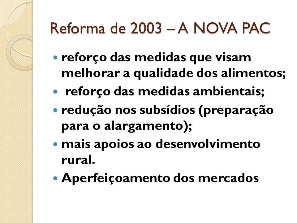 1999 – SEGUNDA REFORMA DA PAC integra as recomendações da agenda 2000 e as alterações necessárias ao pós Uruguai – round. promover uma agricultura sus