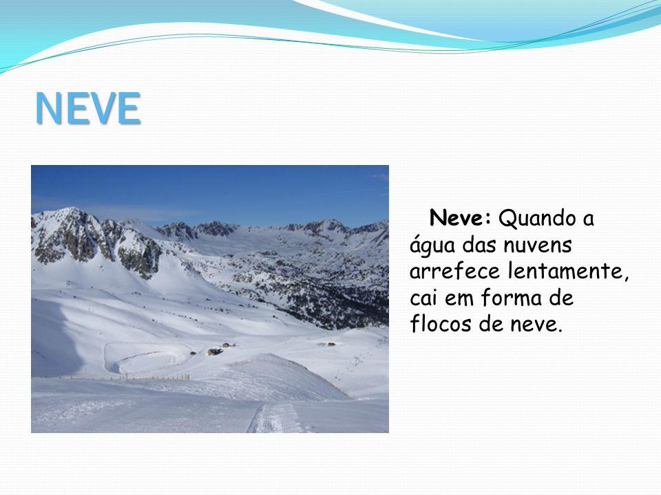 NEVE Neve: Quando a água das nuvens arrefece lentamente, cai em forma de flocos de neve.