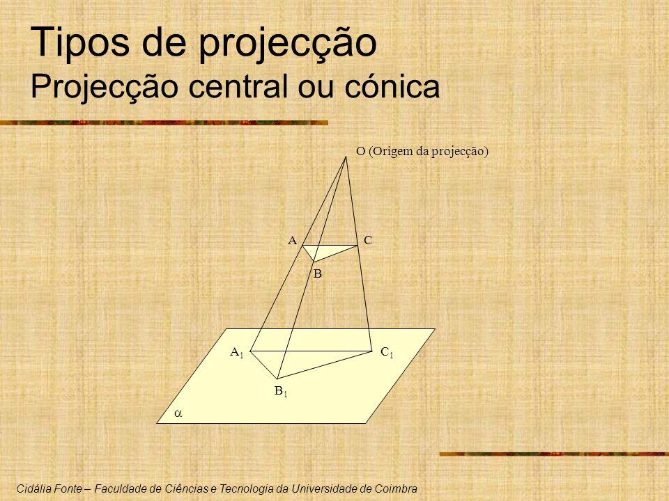 Cidália Fonte – Faculdade de Ciências e Tecnologia da Universidade de Coimbra Tipos de projecção Projecção central ou cónica A B C A1A1 B1B1 C1C1 O (Origem da projecção)