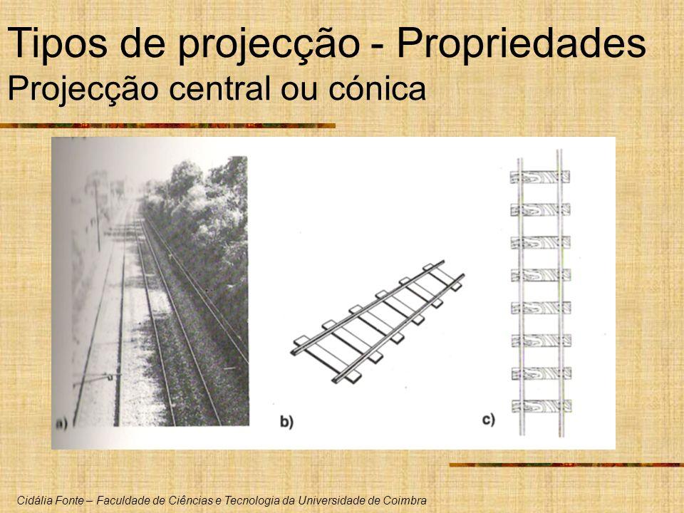 Cidália Fonte – Faculdade de Ciências e Tecnologia da Universidade de Coimbra Tipos de projecção - Propriedades Projecção central ou cónica