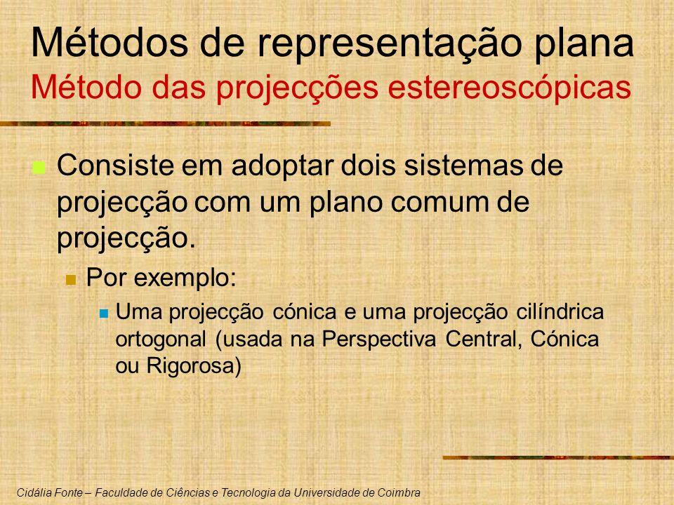 Cidália Fonte – Faculdade de Ciências e Tecnologia da Universidade de Coimbra Métodos de representação plana Método das projecções estereoscópicas Consiste em adoptar dois sistemas de projecção com um plano comum de projecção.