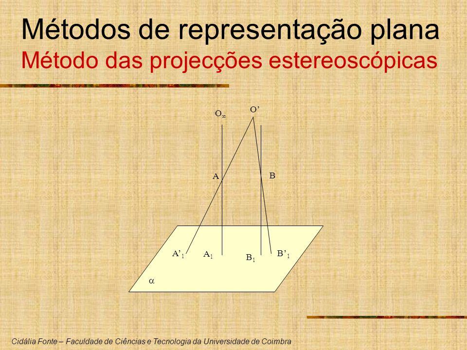 Cidália Fonte – Faculdade de Ciências e Tecnologia da Universidade de Coimbra Métodos de representação plana Método das projecções estereoscópicas A B A1A1 B1B1 A1A1 B1B1 O O