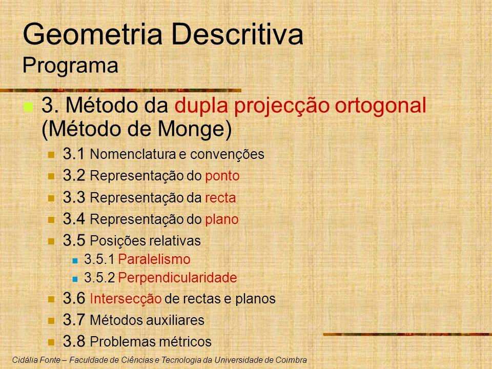 Cidália Fonte – Faculdade de Ciências e Tecnologia da Universidade de Coimbra Geometria Descritiva Programa 3.