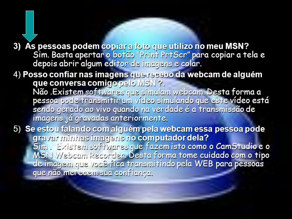 3) As pessoas podem copiar a foto que utilizo no meu MSN? Sim. Basta apertar o botão Print PrtScr para copiar a tela e depois abrir algum editor de im