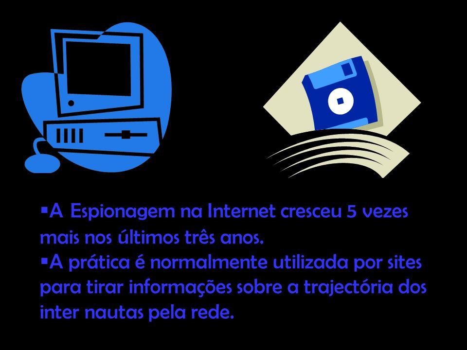. A Espionagem na Internet cresceu 5 vezes mais nos últimos três anos. A prática é normalmente utilizada por sites para tirar informações sobre a traj