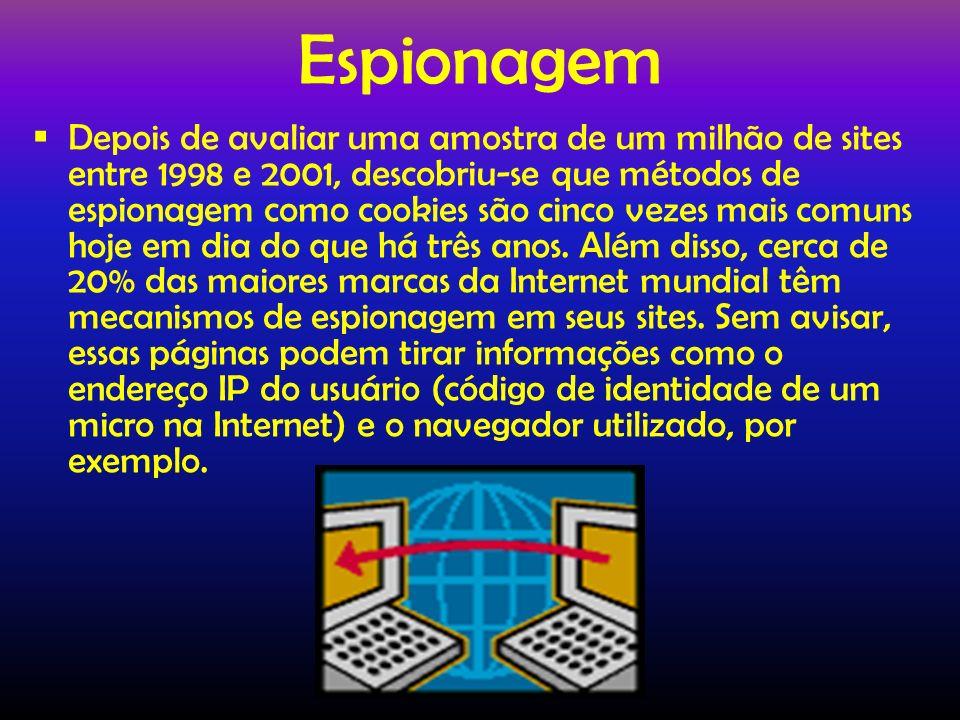 Espionagem Depois de avaliar uma amostra de um milhão de sites entre 1998 e 2001, descobriu-se que métodos de espionagem como cookies são cinco vezes