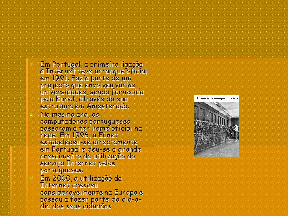Em Portugal, a primeira ligação à Internet teve arranque oficial em 1991.