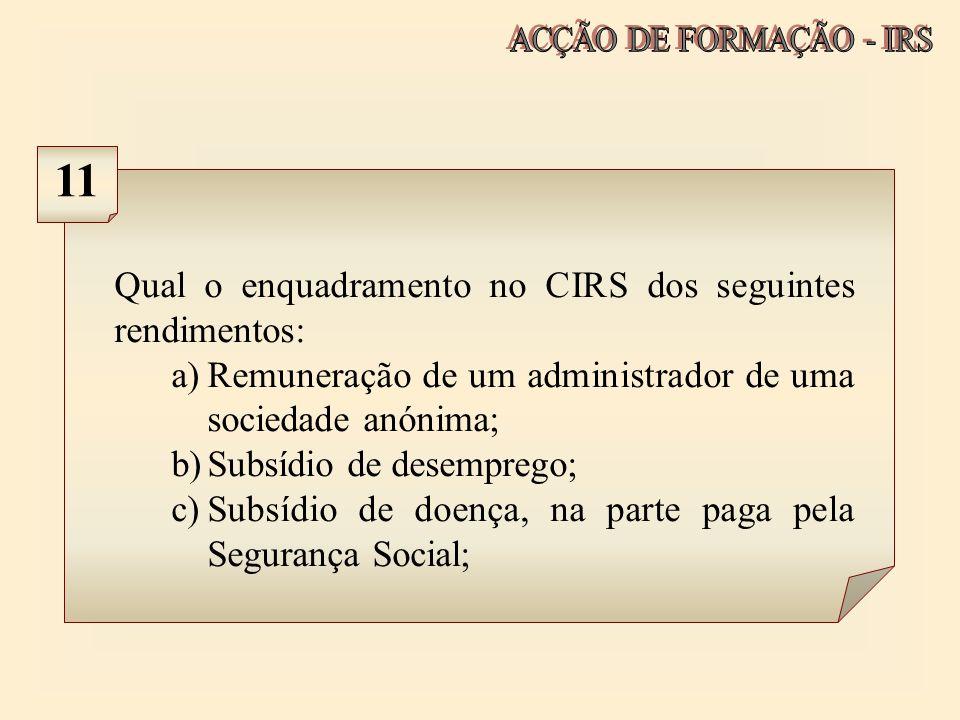 Qual o enquadramento no CIRS dos seguintes rendimentos: a)Remuneração de um administrador de uma sociedade anónima; b)Subsídio de desemprego; c)Subsíd